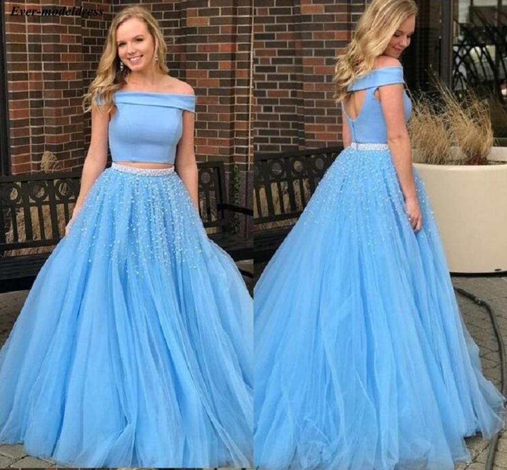 Blue Two Pieces   Prom     Dresses   Long A-Line Off Shoulder Open Back Floor Length Lovely Vestidos De Festa Evening Party Gowns
