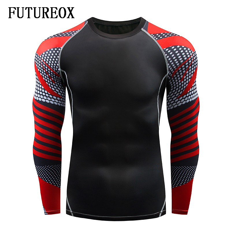 New black and red line starpoint compression long sleeve MMA bodybuilding fitness muscle man fitness quick-drying T-shirt