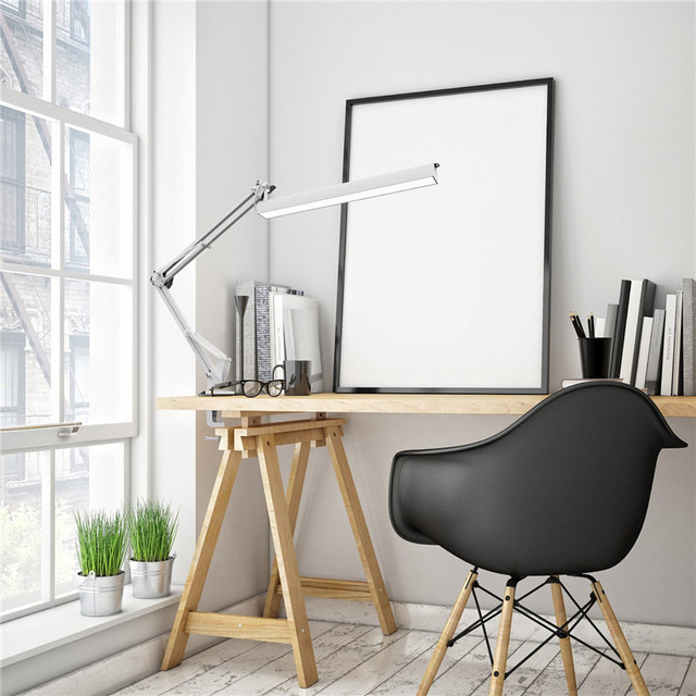 A16 USB Power LED Desk Lamp with Clip 3 Level Dimmer Drafting Table Light Swing Arm Architect Study Lamp Eye-caring White
