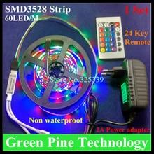 1 set 5M SMD 3528 300 LED RGB led Strip led light tape flashlight lighting Non Waterproof strip + IR Remote+2A Power Adapter