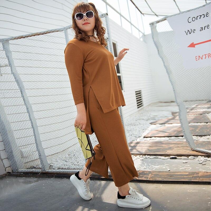 Super size women's suit, long sleeved T-shirt + wide leg pants suit 473 475