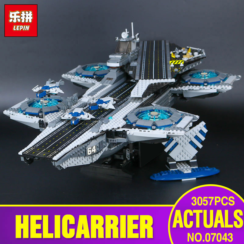 3057pcs LEPIN 07043 Super Heroes The SHIELD Helicarrier Model Building Kits  Blocks Bricks Toys brinquedos compatible with 76042