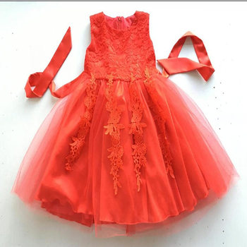 Kaiya Angel Girls Summer Princess Red Cotton Flower String Grass Mesh Clothes Unicorn Pearls Embroidery Toddler Tutu Dresses