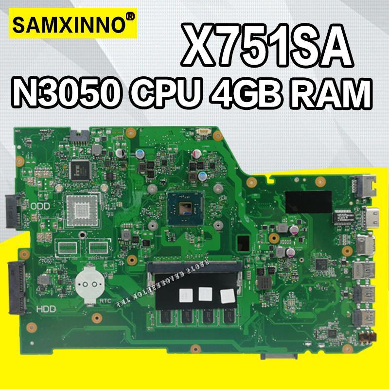 X751SA  N3050 CPU 4GB RAM  Laptop motherboard For ASUS X751S X751SJ X751SV mainboard  Tested WorkingX751SA  N3050 CPU 4GB RAM  Laptop motherboard For ASUS X751S X751SJ X751SV mainboard  Tested Working
