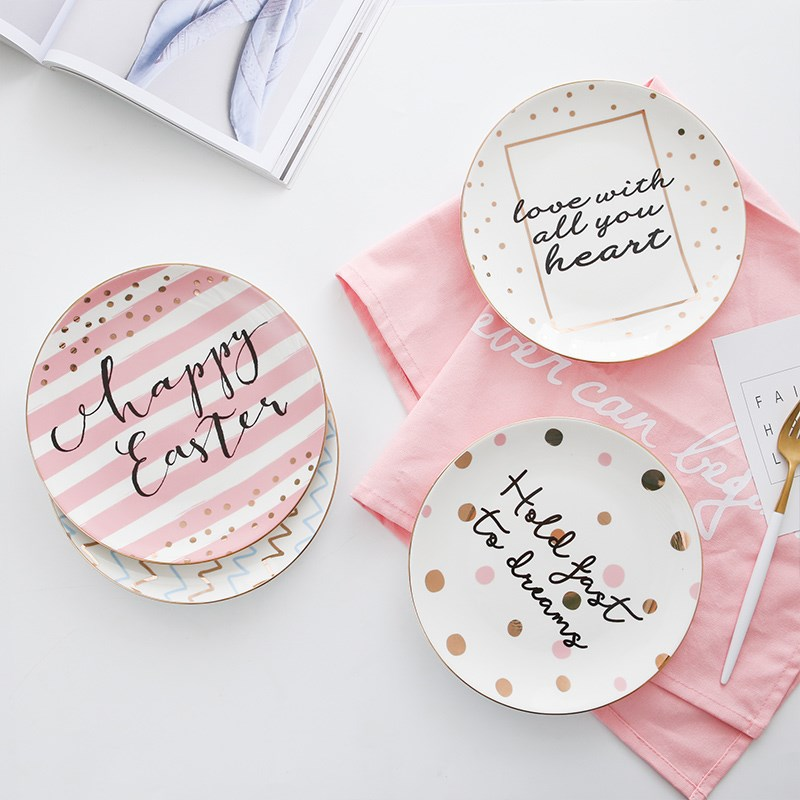 Ideayoyo Store Chic Creative Lovely Ceramics Freehand Sketching Wave Dot Steak Pink Gold White Plate Dinner Plates Flavoring Western Food Dish