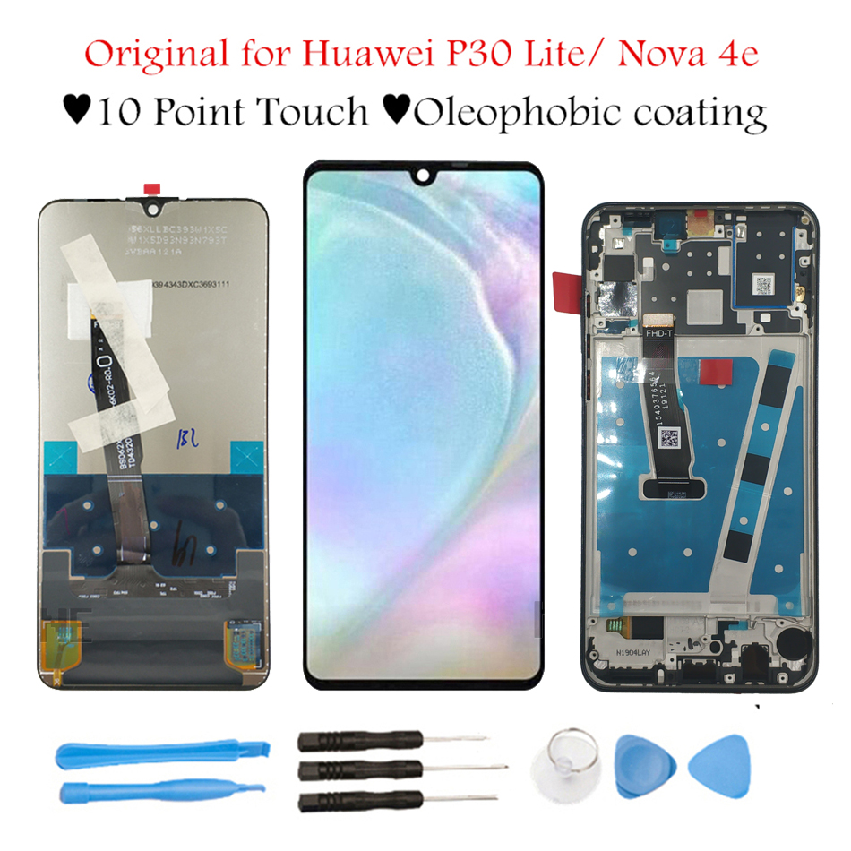 Original 6 15 for Huawei P30 Lite Nova 4E LCD Display Touch Screen Digitizer Assembly LCD