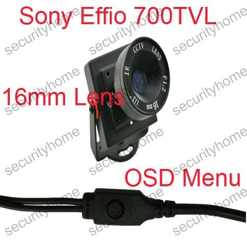 High Resolution Sony 700TVL Box 16mm lens OSD Menu Control Mini CCTV Color camera