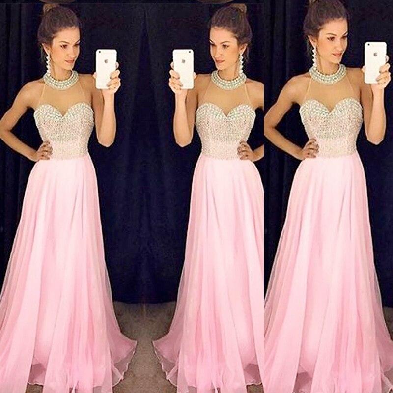 Brillante brillante de cristal rosa largo prom dress 2017 halter ...