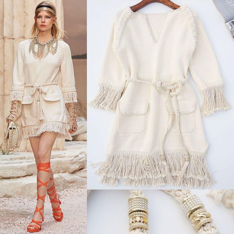 Top Quality 2018 Luxury Chic Runway Spring Summer Tassel Dress Women Hand-Woven Knitted Three Quarter V Neck Dress Beige tahari women s woven dress pant 4p taupe beige