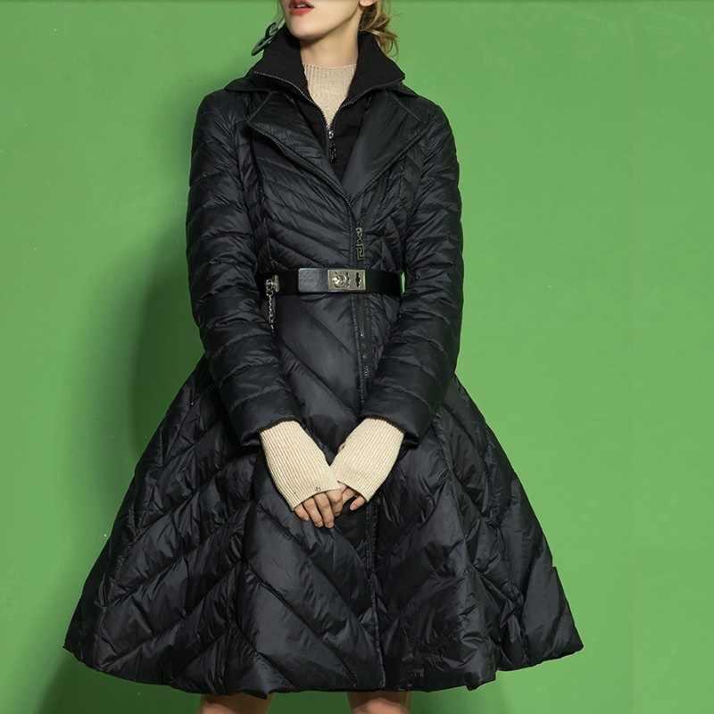 2019 зимний женский пуховик, юбка, пальто, французская мода, имитация двух частей, женская верхняя одежда на утином пуху, большой размер