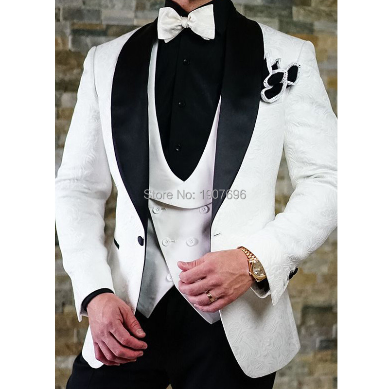 Herringbone Pattern Wedding Men Suits For Groom Tuxedos Casual Style Prom Male Clothes 3 Piece Set Jacket Vent With Black Pants
