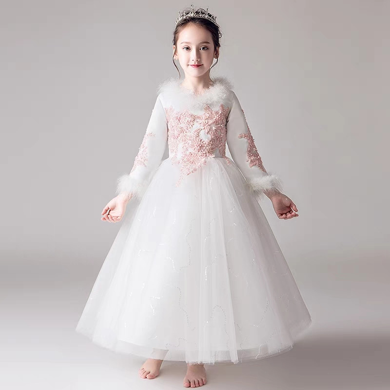 2018Autumn Winter Warm Children Girls Embroidery Lace Birthday Wedding Evening Party Long Mesh Dress Teens Piano Costume Dress flounce mesh insert embroidery dress