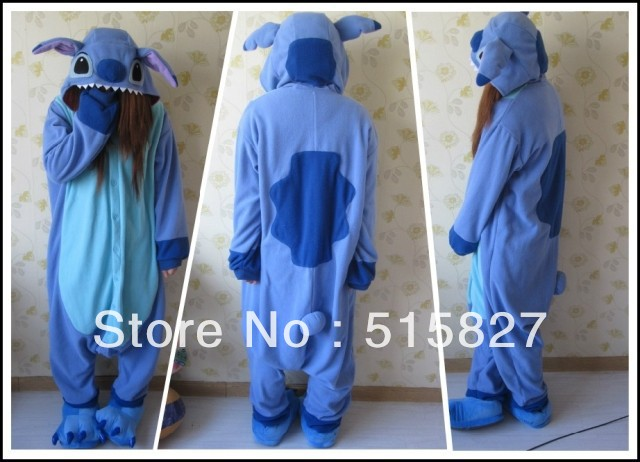hot sale New Japan Adult Animal Blue Stitch Lovely Fleece Full Sleeves Hooded Lady Nightwear