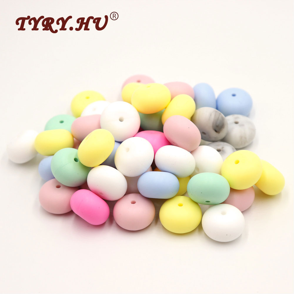 TYRY.HU Original 7Pcs Abacus Beads Silicone Teether Bead 23mm DIY Teething Necklace BPA Free Loose Saucer Bead For Mom Jewelrys