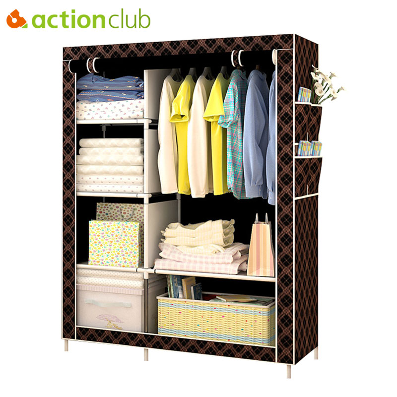 Actionclub Simple Fashion Wardrobe DIY Non-woven Fold Portable Storage Cabinet Multifunction Dustproof Moistureproof Closet yohere furniture non woven wardrobe clothe storage wardrobe simple portable closet new fashion sundries cabinet dust proof