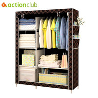 Actionclub Simple Fashion Wardrobe DIY Non Woven Fold Portable Storage Cabinet Multifunction Dustproof Moistureproof Closet