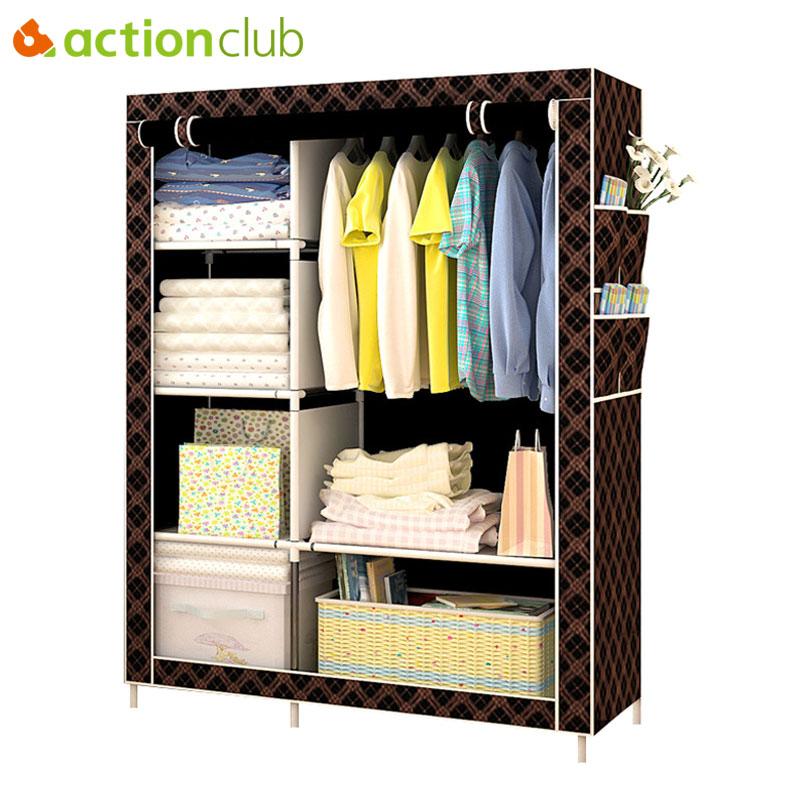 Простой модный гардероб Actionclub DIY, нетканый складной портативный шкаф для хранения, многофункциональный пыленепроницаемый влагостойкий шка...