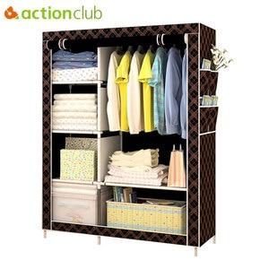 Actionclub Simple Fashion Wardrobe DIY Non-woven Fold Portable Storage Cabinet Multifunction Dustproof Moistureproof Closet(China)