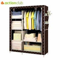 Actionclub Simple mode armoire bricolage Non-tissé pli Portable armoire de rangement multifonction anti-poussière étanche à l'humidité placard