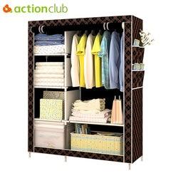 Actionclub moda simples guarda-roupa diy não-tecido dobrável armário de armazenamento portátil multifuncional dustproof moistureproof closet