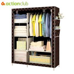 Armario de moda Simple Actionclub DIY no tejido plegable armario de almacenamiento portátil multifunción a prueba de polvo armario