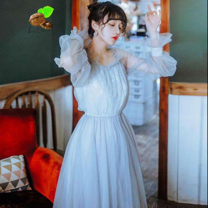 8f23020fc2ca New Women Vintage Retro Bohemian Floral Embroidery Puff Sleeve Summer Gauze  Dresses Female Boho Beach Fairy Gary Long Dress-in Dresses from Women's  Clothing ...