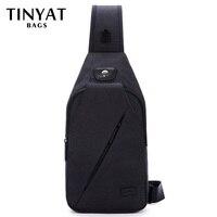 TINYAT Messenger Bag Men Shoulder Bags Black Casual Functional Men Chest Pack Dual Earphone Jack Hinking
