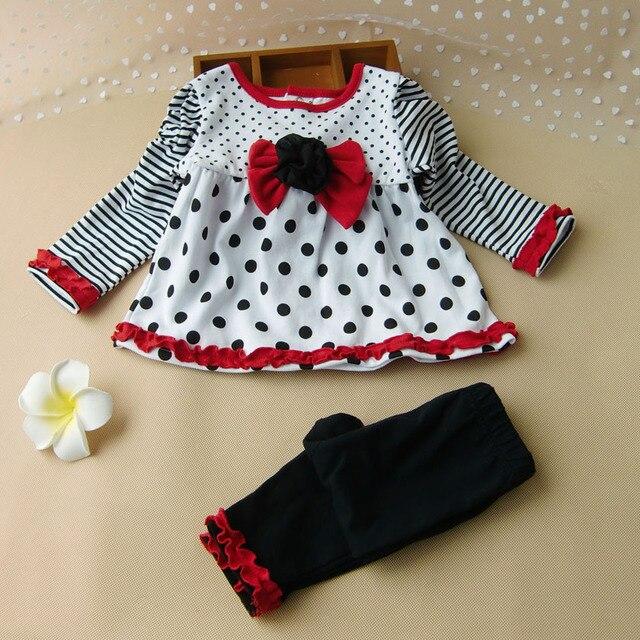 New Baby Девушки Одежда Набор Младенческая Платье Outifits Горошек полный Рукав Лук Кружева 2 Шт. Набор для Осень Девушка одежда