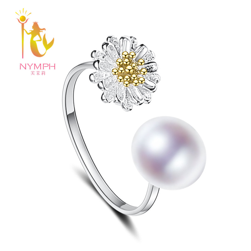 NYMPH Natural Pearl Ring 925 Sterling Silver Pearl Jewelry Freshwater White 8 9mm Engagement Wedding
