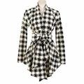 Inverno Mulheres Camisolas do Casaco Mistura de Algodão Blusa Menina Magro Manga Comprida Abrir Ponto Cinto Casaco Outerwear Mujer Cami