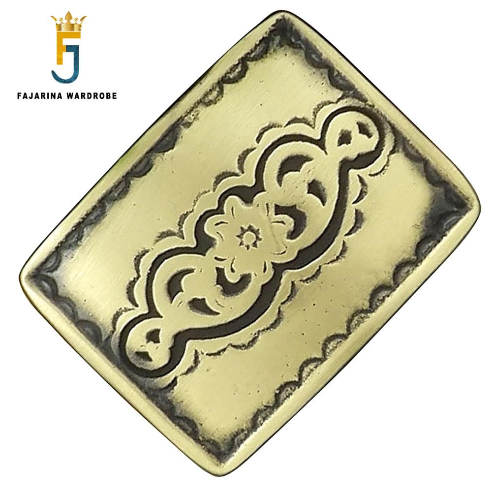 FAJARINA Unique Design Solid Brass Buckle Only For 3.6-3.9cm Width Cowboy Floral Pattern Belt Buckles Men Freeshipping BCK038