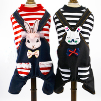 Striped Rabbit Lover Clothes For Dog Toy Terrier Denim Striped Summer Spring Jumpsuit For Small Puppy