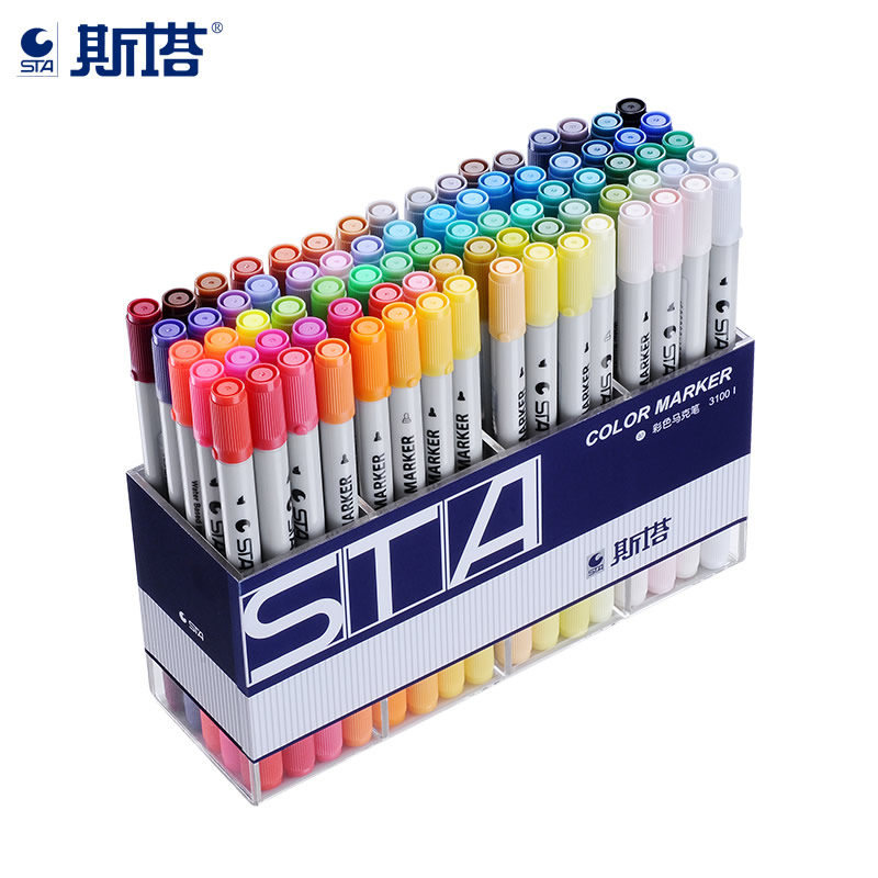 STA 80 Colors Twin Marker Brush Pen Manga Water Based Markers Art Marker Alcohol Markers Felt-tip Pens For Drawing Art Supplies