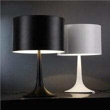 buy Metal Lampshades Modern European Table Lamp Nordic Desk Lamp Desktop Study Reading Bedside Home,White/Black,Small H46cm,TLL-308,image LED lamps deals