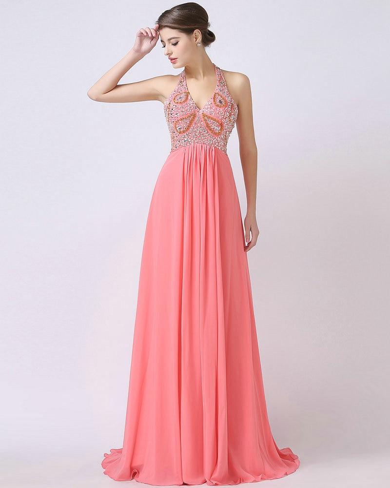 REAL MODEL Water Melon Chiffon Halter Evening Dress Crystals 2017 ...