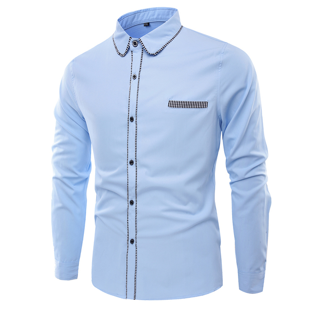 de1b3e65 Spring Time-limited 2017 New Men Cotton Shirts College Style Dress Shirt  For Fashion Slim Fit Mens Long Sleeve Designer Clothes