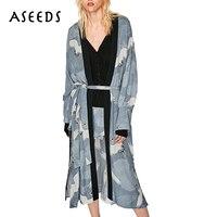 Vintage Cranes Print Kimono Cardigan Women Tops Split Long Sleeve Women S Blouses 2017 Autumn Sashes