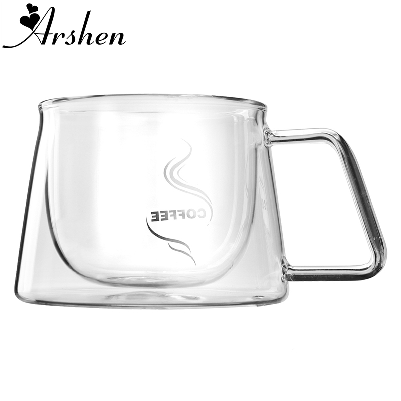 Arshen 200ml Double Wall Layer Glass Coffee Mug Handgrip Cup Water Tea Cup  Heat Cold Resistant Milk Coffee Drinkware Coffeeware