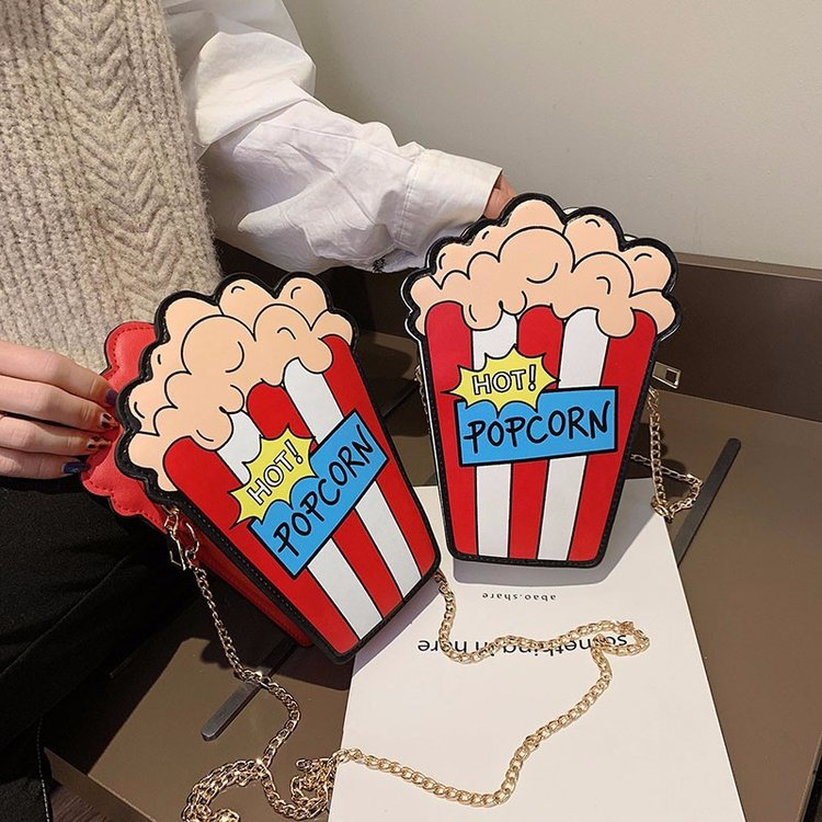 7d548c8de8 Funny Popcorn Shape Crossbody Bag Cute Purse Handbags Chain Messenger Bags  Small Crossbody Bags For Women
