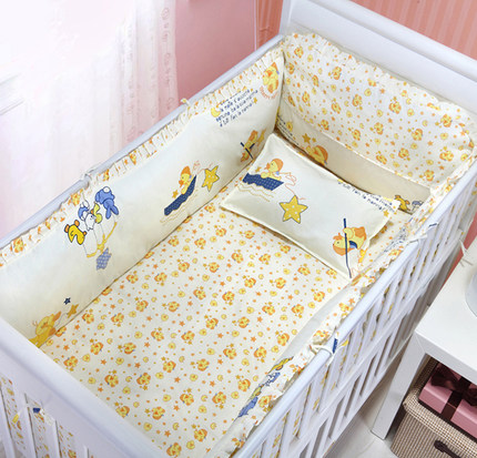 Promotion! 6PCS New Arrived Baby bedding set crib bedding set 100% cotton baby bedclothes (bumper+sheet+pillow cover)