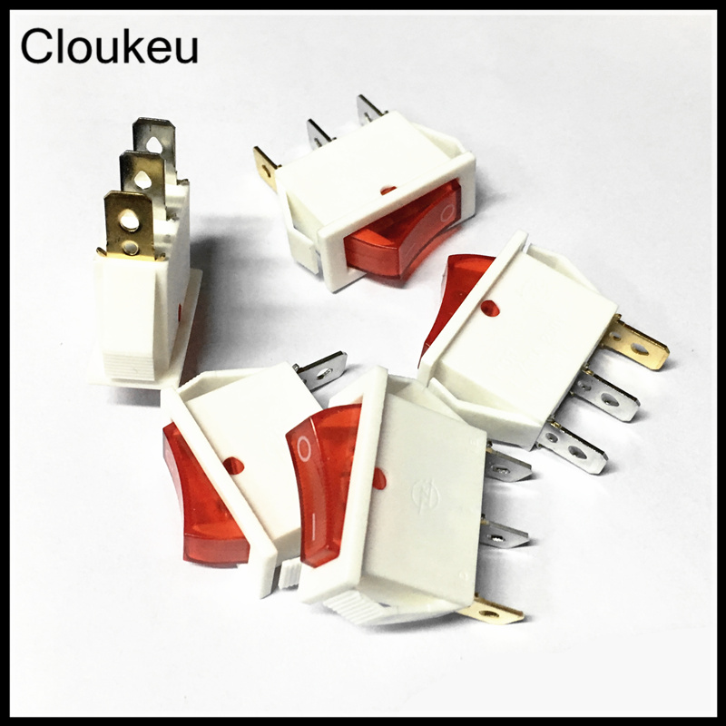 10*28MM Rocker Switch White With lamp KCD3-102N 3Pin 2File Seesaw switch 16A Power switch 5Pcs dfc seesaw se 01