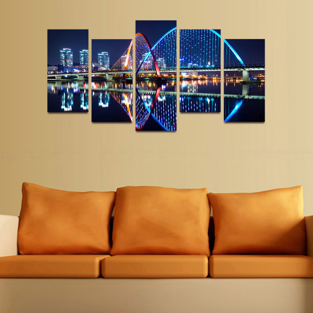 Original Oil Ink Canvas Print LED Light Night City Rainbow Bridge Painting On Canvas Wall Art Picture Home Decor APR035-in Painting & Calligraphy from ...