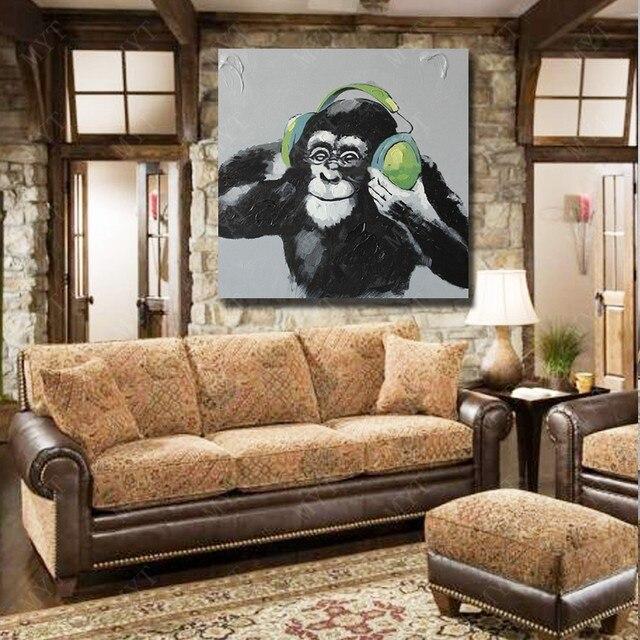 Online-Shop Schöne Affe Hören Musik Wandbilder für Wohnzimmer ...