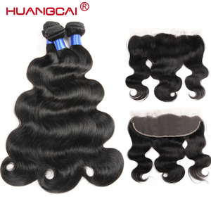 Ear To Ear Lace Frontal Closure With Bundles Peruvian Hair Body Wave Human Hair 3 Bundles Deal Remy Hair Extensions 8 To 32inch