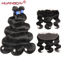 Huangcai Ear To Ear Lace Frontal Closure With Bundles Peruvian Hair Body Wave Human Hair 3