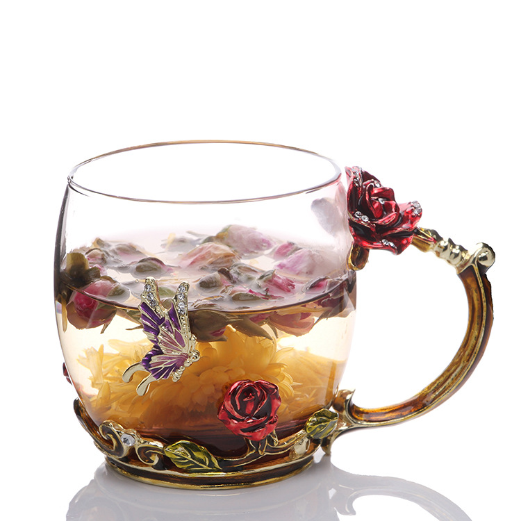 Belvina Red rose color tea cup crystal creative gifts