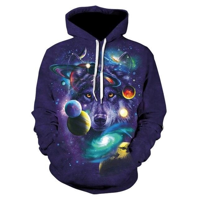 Galaxy Wolf 3D Printed Hoodie