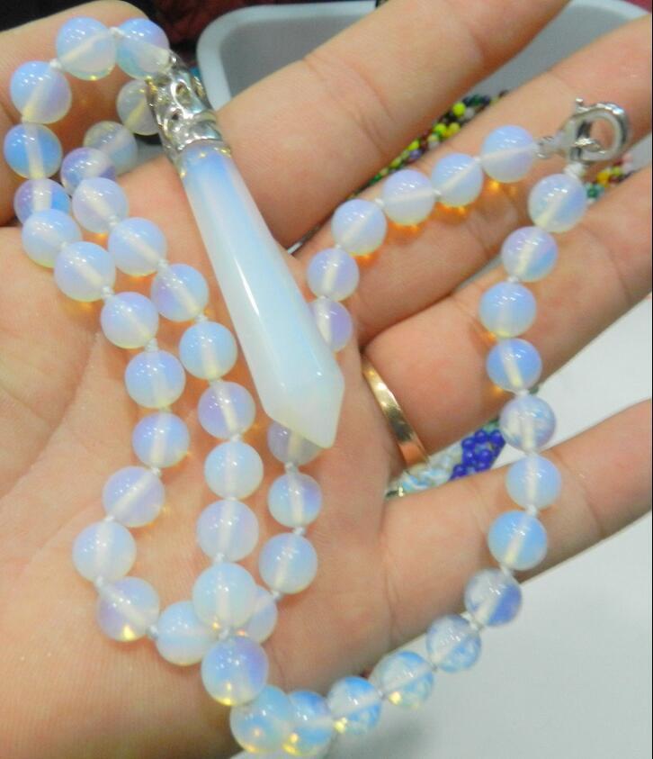 jewerly Selling> jewerly Hexagonal Healing Chakra Reiki Opal Opalite Stone Pendant Necklace 18 >free shipping