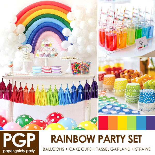 Pgp Rainbow Party Set Balloon Cake Cups Tassel Garland Straws For
