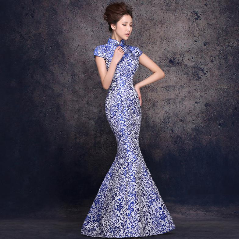 New Style Long Cheongsam Qipao Dresses Vintage Blue Mermaid China Tradition Oriental Dress Y Gown Evening In Cheongsams From Novelty